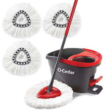 - O-Cedar Microfiber EasyWring Spin Mop & Bucket System with Built-in wringer and foot pedal and , 3 pc by O-Cedar
