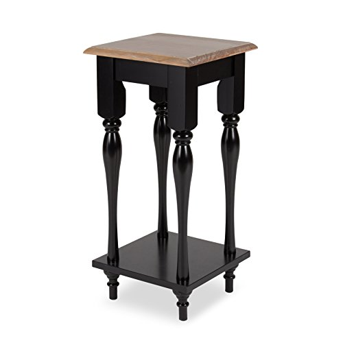 (Kate and Laurel Sophia Rustic Wood Top Plant Stand End Table with Shelf, Black)