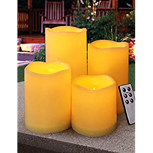 HOME MOST Set of 4 Outdoor LED Pillar Candles with Remote Timer Battery Operated – Outside Waterproof Outdoor Candles…
