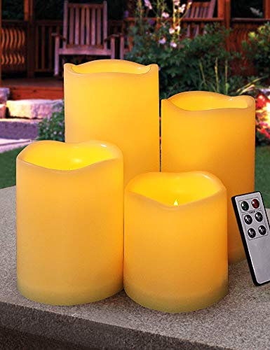 HOME MOST Set of 4 Outdoor LED Pillar Candles with Remote Timer Battery Operated - Outside Waterproof Outdoor Candles with Timer 3x3 3x4 3x5 3x6 - Unscented Flickering Flameless Pillar Candles Outdoor