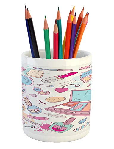 Ambesonne Makeup Pencil Pen Holder, Multiple Womens Makeup Products Illustration Cosmetics Beauty and Glamour Concept…