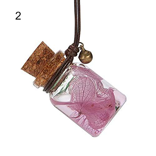 YINGYUE Lovely Beautiful Car Dry Flower Decor Empty Perfume Oil Bottle Car Hanging Ornament 2#