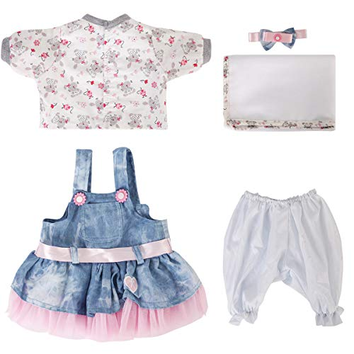 ENADOLL Reborn Baby Doll Clothes Outfit for 16 Inch Reborns Newborn Babies Matching Clothing Headband Cowboy Tutu Dress Five-Piece Set