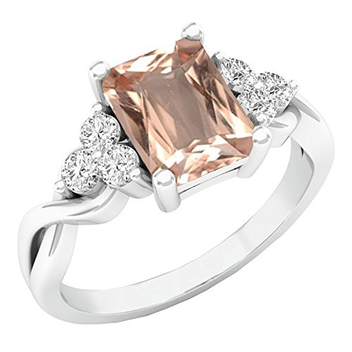Sterling Silver 8X6 MM Emerald Cut Morganite & Round White Sapphire Engagement Ring (Size 4.5) by DazzlingRock Collection