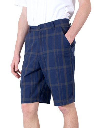 YAGO Men's Shorts Plaid Print With Cell Phone Pocket (Navy/Brown,44) Plaid Knee Shorts