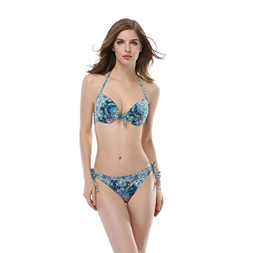TOP-3 Women's and Girl's Blue Flowery-Printed 2 PCS Tie Back Bandage Halter Full Push Up Underwire Bikini Swimsuit Sets (Large)