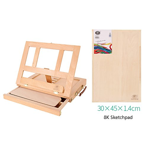 Easels Watercolor Acrylic Set Beech Drawer Type Desktop Wooden With Drawing Box Oil Painting Frame with A3 8K Sketch Board (Color : Beech+8K Sketchpad) (Desk Set Beech)