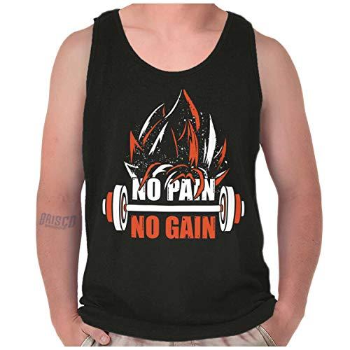 Brisco Brands Pain No Gain Super Saiyan Dragon Ball Z Goku Workout Tank Top Shirt, Black, X-Large ()