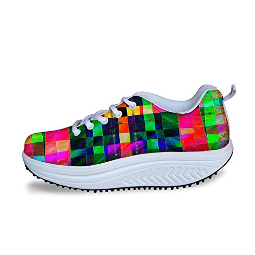 Para U Diseños Elegante Fitness Walking Sneaker Mujeres Wedges Platform Zapatos Multi 6