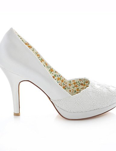 BGYHU GGX Damen-Schuhe Stretch Satin Stiletto Heels Heel Heels Stiletto Peep Toe Runde Zehen Sandalen Hochzeit Party & Abend Kleid Elfenbeinfarben 396708