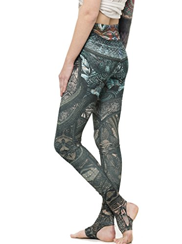 (High Waisted Leggings - Tribal Print Yoga Pants with Stirrups - Urban Street Wear - Multi Color - Medium)