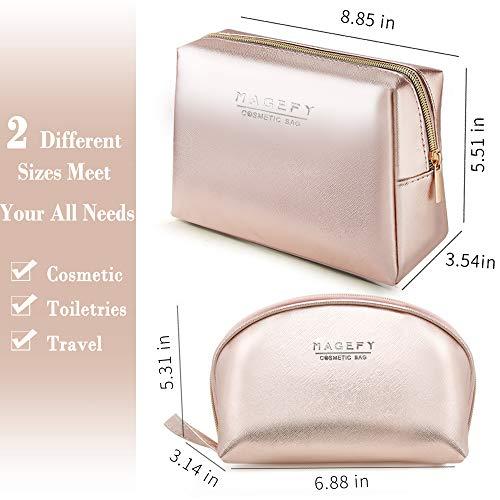 MAGEFY 2Pcs Makeup Bags for Women Portable Travel Cosmetic Bag Waterproof Makeup Bag Organizer Toiletry Bag for Purse (Rose Gold)