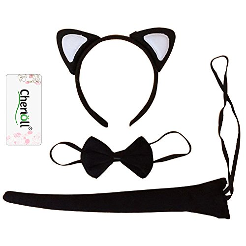 Halloween Kit ,Cat Costume Kit,Cat Ears, Tail, & Bow Tie Costume Set (White)