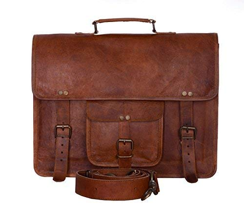 Komal's Passion Leather Vintage 15 Inch Laptop Messenger Bag briefcase Satchel for Men and Women