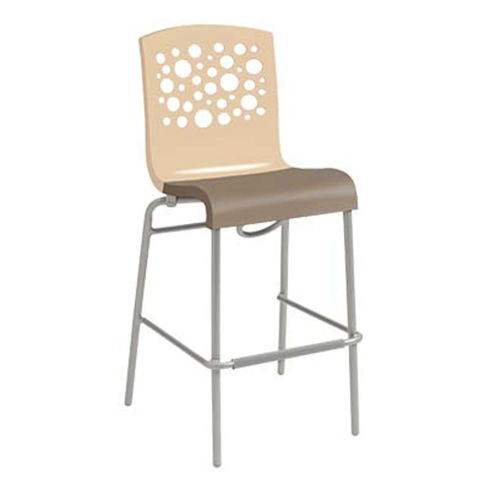 Grosfillex US836413 Tempo Stacking Barstool, Beige with Taupe Seat (Case of 8)