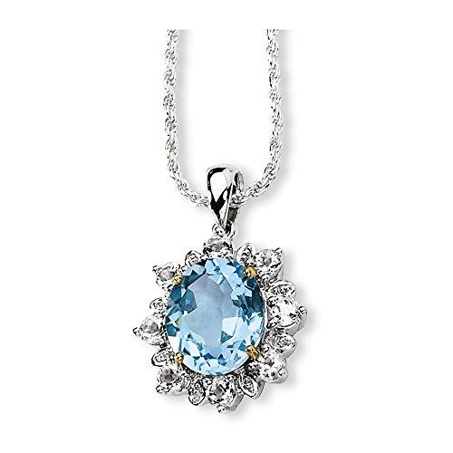 Sterling Silver & 14K Sky Blue & White Topaz Necklace