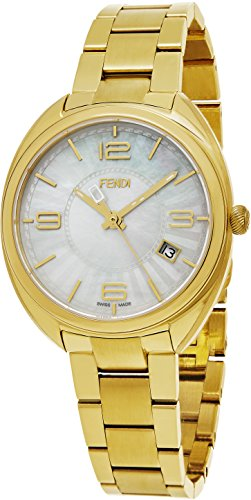 Fendi Momento Women's 34mm Mother-of-Pearl Face Yellow Gold Stainless Steel Swiss Fendi Watch Women - 5 Dollars Stocks Best Than Less For