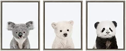 Kate and Laurel Sylvie Three Bears Framed Canvas Wall Art