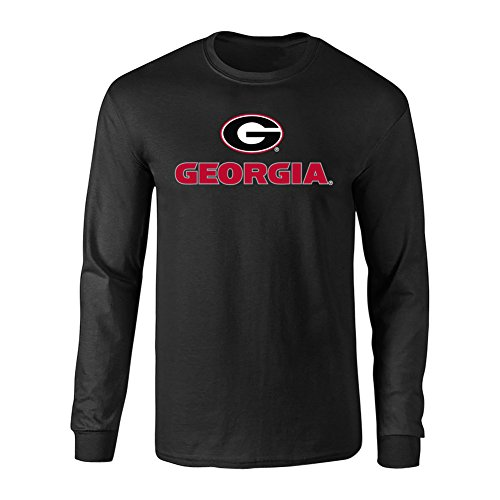 Elite Fan Shop Georgia Bulldogs Long Sleeve Tshirt Arch Black - Large - Black Red