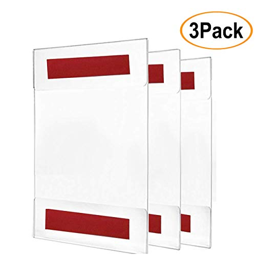 - Acrylic Sign Holder/Display 8.5 x 11 or 11 x 8.5 – Sign Holder w/Industrial Strength Adhesive Tape, No Drilling, No Screws, No Mess, Very Simple to Install Either Vertical or Horizontal, 3 Pack