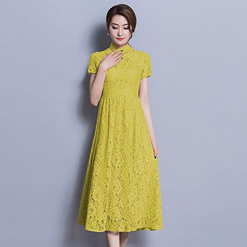 ZHUDJ Las Mujeres De Gran Tamaño _ Largo Vestido Encaje Vestido Niña Slim Slim Size yellow