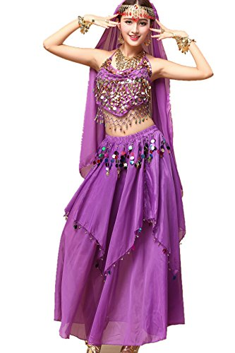 Bollywood Fancy Dress Outfits (YYCRAFT Women Halloween Halter Top Skirt Costume Set Belly Dance Outfit Violet)