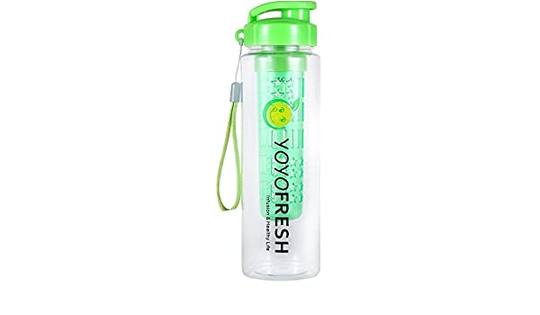 YOYO fresco botella de agua con infusor de frutas – Martillo – sin BPA con tapa Trian – nuevo diseño para 2016 verde: Amazon.es: Deportes y aire libre