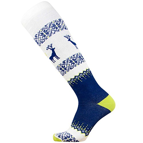 Warm Ski Socks - Ugly Sweater Deer Sock for Skiing - Merino Wool Winter, Snowboard Socks for Men and Women - OTC Knee High (S, Navy-Green-White) ()