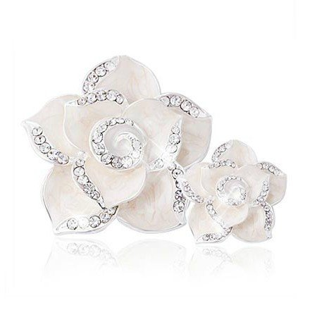 Flower Bead Charm Rhinestone - Beading Station 2-Piece Camellia Flower Oil Dripped Flat Bottom Charms with Rhinestones, White