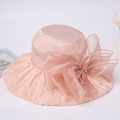 (XIAOLI Pearl Bow Flat Eaves Tin Hat Spring And Summer Outdoor Foldable Big Along The Sun Hat, The Color Of Blood, Adjustable )