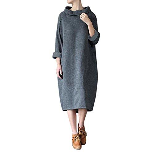 Las mujeres vestido de invierno suelta cuello alto manga larga sudadera blusa Tops Sweatshirt Dress Kaftan By DoraMe (Gris, M): Amazon.es: Iluminación