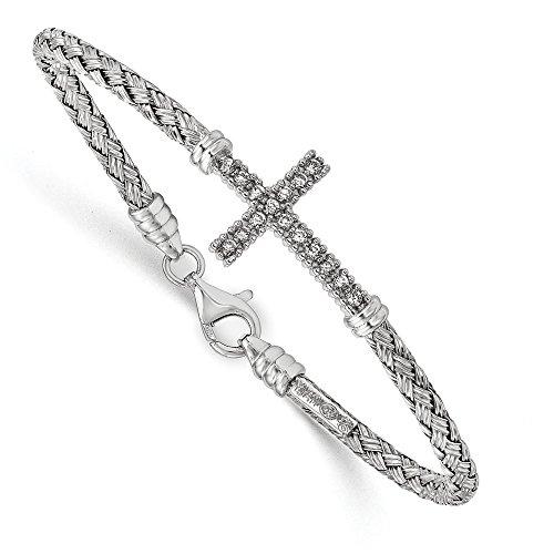 Diamond2Deal Sterling Silver Polished Rhodium-plated CZ Italian Cross Bangle Bracelet