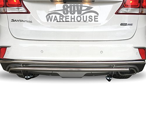 BLACK HORSE Rear Bumper Guard Double Layer 8D093945SS-DL Compatible with 2006 to 2018 Toyota RAV4 Chrome Stainless Steel