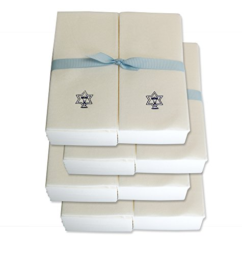Disposable Guest Hand Towels with Ribbon - Embossed with a Menorah/star of David - (Embossed Guest Towels)
