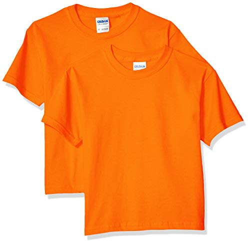 Gildan Kids' Big Ultra Cotton Youth T-Shirt, 2-Pack, Orange, X-Small