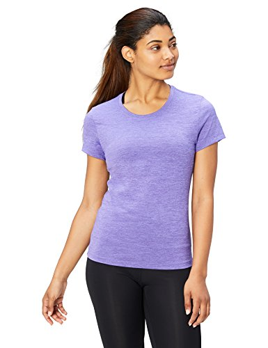 Back Womens Cap Sleeve T-shirt - Amazon Brand - Core 10 Women's Essential Fitted Cap Sleeve Performance T-Shirt, Amethyst Heather, X-Large