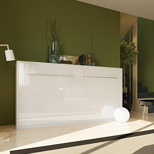 schrankbett 90x200 cm horizontal weiss weiss hochglanzfront schrankklappbett wandbett. Black Bedroom Furniture Sets. Home Design Ideas