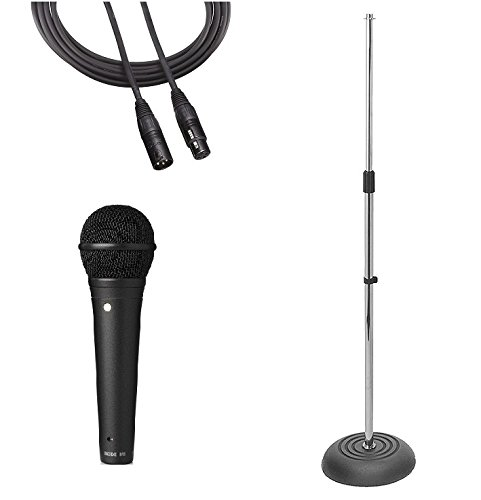 RODE M1 Vocal Microphone Live Performance Bundle: RODE M1 Microphone, Weighted Mic Stand (Chrome), and XLR Cable (Best Rode Mic For Rap Vocals)