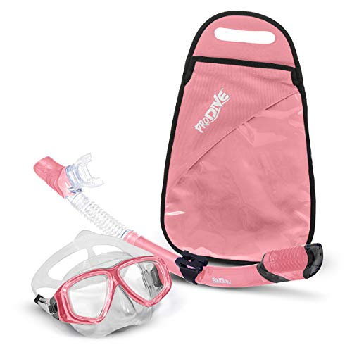 PRODIVE Premium Dry Top Snorkel Set - Impact Resistant Tempered Glass Diving Mask, Watertight and Anti-Fog Lens for Best Vision, Easy Adjustable Strap, Waterproof Gear Bag Included (Pink)