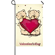 "Rossne G sun Valentine's Day Teddy Bear Red Heart Garden Flag House Flag Decoration Double Sided Flag 12.5"" x 18"""