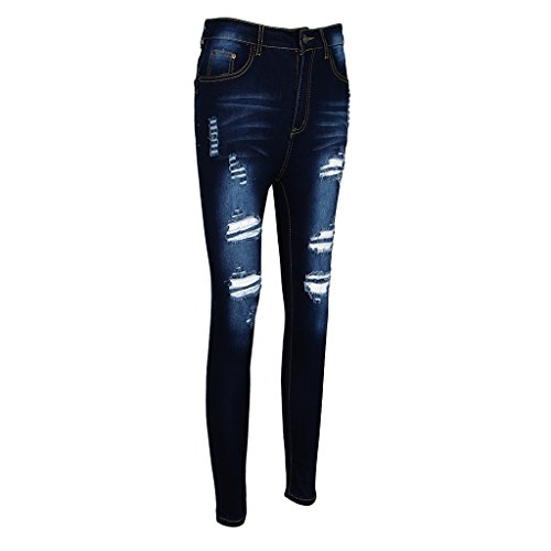 Stylish Plus Size Jeans - Prettyia Stylish Women's Stretchy Fit Ripped Skinny Destroyed Broken Hole Denim Pant Jeans Jeggings Plus Size L-5XL - Dark Blue, 3XL