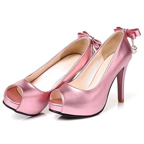 TAOFFEN Women Fashion Peep Toe Slip On Wedding High Heel Sandals with Bowtie Pink qvnoheykyw