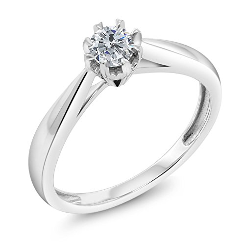 Gem Stone King 18K White Gold Round Diamond Solitaire Engagement Ring 0.15 cttw G-H Color (Size 5)