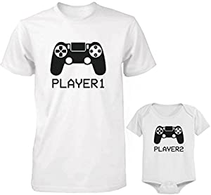 Daddy and Baby Matching T-Shirt and Onesie Set - Player 1 & Player 2