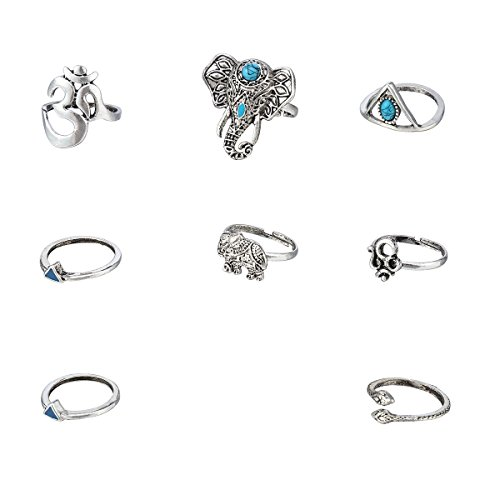Womens Triangular Ring (YF 1 Set Women 's Ancient Silver Bohemia Style Eight-piece Big Elephant /Small Elephant /Triangular Serpent /Turquoise Dripping Rings Vintage Articulator Ring (Size 4-8-1 Set))