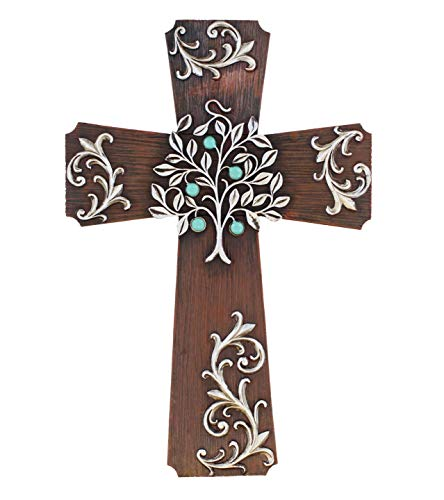 LL Home Rustic Silver Tree Scrolly Wall Cross - Decorative Spiritual Art Sculpture Plaque
