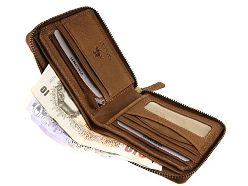Notes Coins DRW31 Leather Oak Zip Visconti For Round Cards Credit Wallet q0WS68