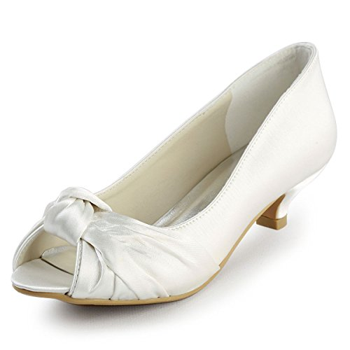 ElegantPark EP2045 Women Peep Toe Comfort Heel Knots Satin Wedding Bridal Shoes Ivory US 9 ()