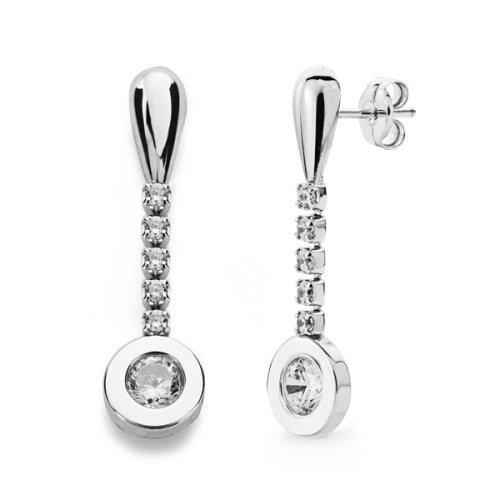 18k or boucles d'oreilles zircone cubique 25 x 7mm
