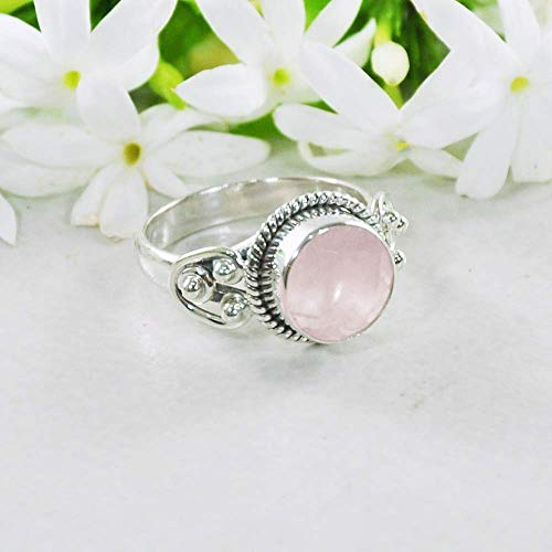 (Sivalya 925 Sterling Silver 10mm Round Cushion Cut Natural Rose Quartz Gemstone Handcrafted Ring - Size 7)